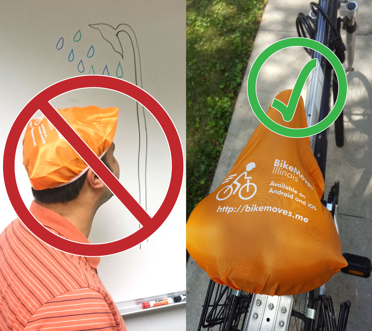 In the incorrect example, the bike seat cover is worn as a shower cap. In the correct example, it is placed on a bicycle seat.