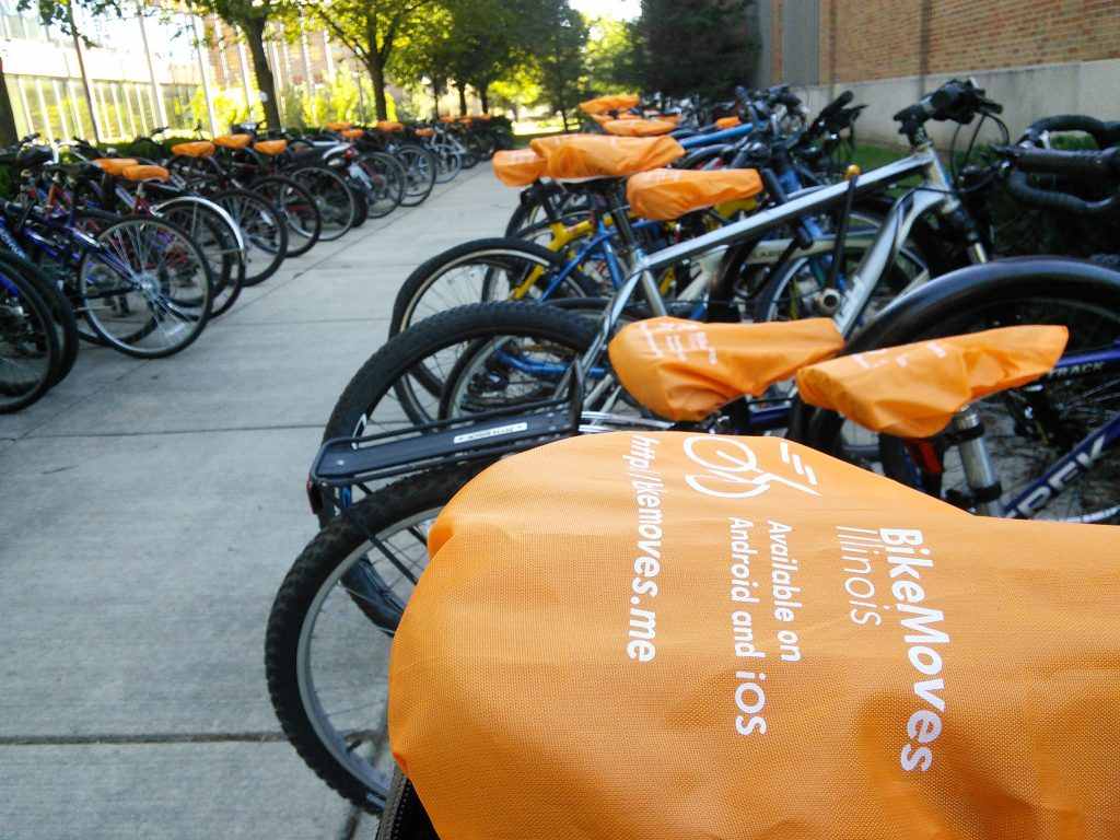 BikeMoves seat covers on the University of Illinois campus