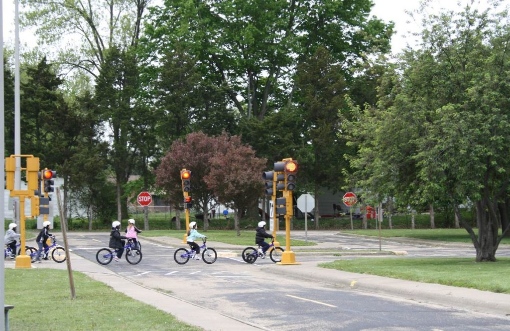 Children riding bikes at the Peoria Bike Safety Town